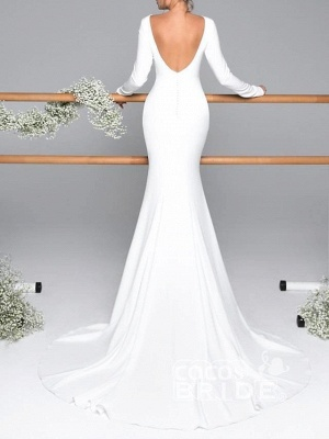 Elegant Mermaid Long Seelves Wedding Dress Sexy Open Back Bridal Gowns with Train_2