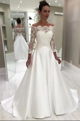 Style A-Line Wedding Dress Bateau 3/4 Sleeves Satin Lace Bridal Gowns On Sale