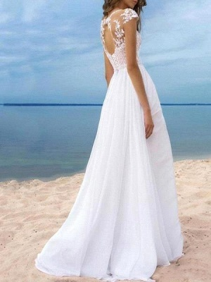Beach A-Line Chiffon Wedding Dress Sexy Slit Tulle Lace Appliques Bridal Gowns On Sale_2