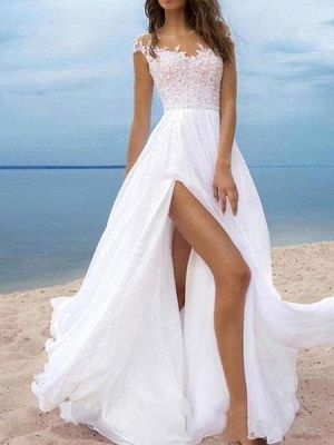 Beach A-Line Chiffon Wedding Dress Sexy Slit Tulle Lace Appliques Bridal Gowns On Sale