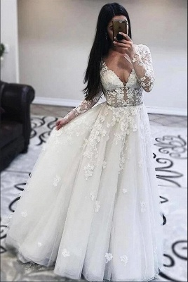 Gorgeous A-Line Tulle Appliques Wedding Dress V-Neck Long Sleeves Ruffles Bridal Gowns On Sale_2