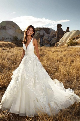Country A-Line Wedding Dress Sexy Deep-V-Neck Lace Appliques Bridal Gowns On Sale