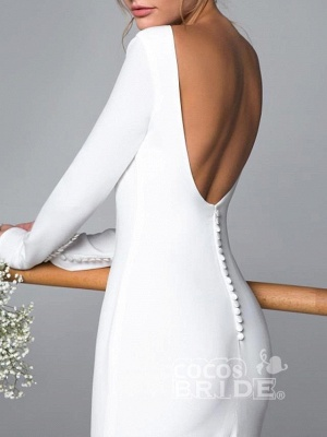 Elegant Mermaid Long Seelves Wedding Dress Sexy Open Back Bridal Gowns with Train_3