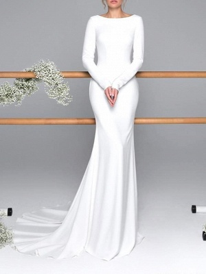 Elegant Mermaid Long Seelves Wedding Dress Sexy Open Back Bridal Gowns with Train