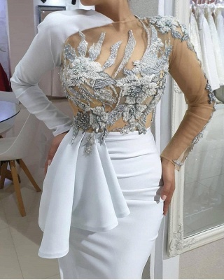 Stylish Asymmetrical Mermaid Long Sleeves Wedding Dress Sexy Lace Bridal Gowns with Beadings_2