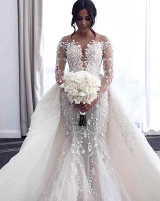 Luxury Mermaid Wedding Dress Tulle Long Sleeves Bridal Gowns with Pearls