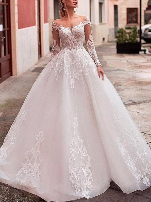 Affordable A-Line Wedding Dress Tulle Lace Long Sleeves Bridal Gowns On Sale