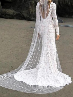 Stylish V-Neck Lace Wedding Dress Beadings Long Sleeves Front Slit Bridal Gowns with Train_2