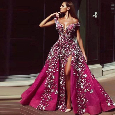 Gorgeous A-Line Tulle Beading Prom Dress Sexy Off Shoulder Slit Party Dress On Sale_2
