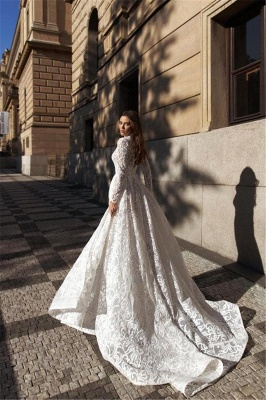 Sexy A-Line Slit Wedding dress Lace Long Sleeves Bridal Gowns with Chapel Train_2