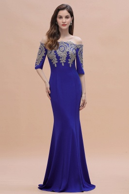 Mermaid Off-Shoulder Chiffon Lace Half Sleeve Evening Dress in Stock_7