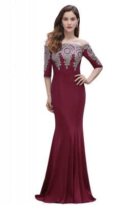 Mermaid Off-Shoulder Chiffon Lace Half Sleeve Evening Dress in Stock_15