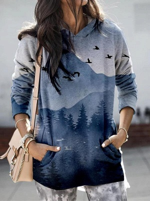 Women's Mountain Printed Hooded Casual Sweatshirt
