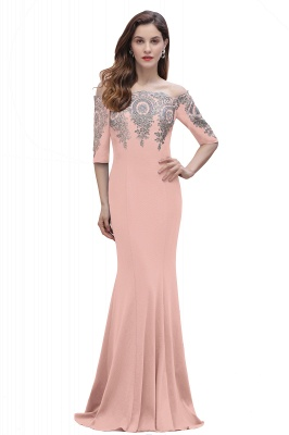 Mermaid Off-Shoulder Chiffon Lace Half Sleeve Evening Dress in Stock_2
