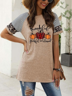 Women's Thankful Grateful And Blessed Printed Leopard Print Casual T-shirt_3
