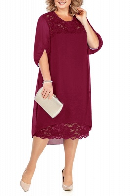 Lovely Half Bubble Sleeves Lace Tea Length Mother of Bride Dress