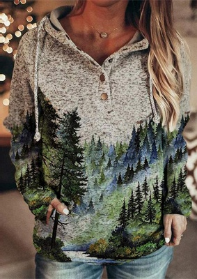 Women's Winter Mountain Print Casual Sweatshirt_1