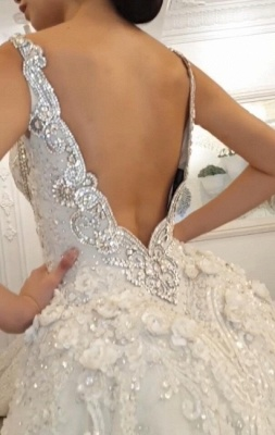 Luxury Chapel Train White Mermaid Wedding Dress With Lace Appliques_3