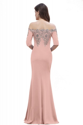 Mermaid Off-Shoulder Chiffon Lace Half Sleeve Evening Dress in Stock_20