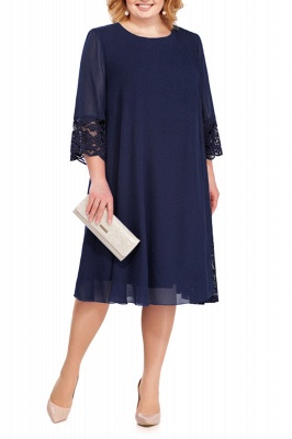 3/4 Sleeves Jewel Lace Knee Length Mother of Bride Dress_3
