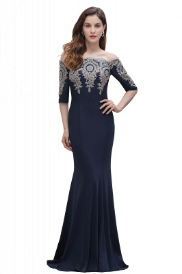 Mermaid Off-Shoulder Chiffon Lace Half Sleeve Evening Dress in Stock_4