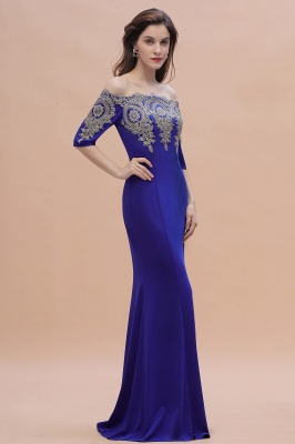 Mermaid Off-Shoulder Chiffon Lace Half Sleeve Evening Dress in Stock_6