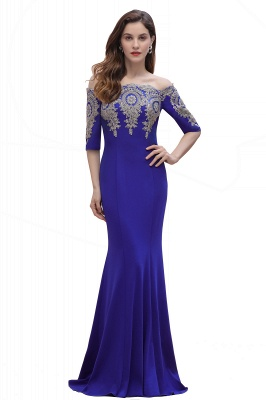 Mermaid Off-Shoulder Chiffon Lace Half Sleeve Evening Dress in Stock_3