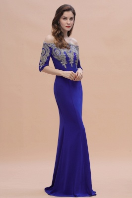 Mermaid Off-Shoulder Chiffon Lace Half Sleeve Evening Dress in Stock_8