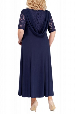 Chic Scoop Lace Half Sleeves Ankle Length Mother of Bride Dress_7