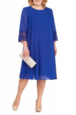 3/4 Sleeves Jewel Lace Knee Length Mother of Bride Dress_8