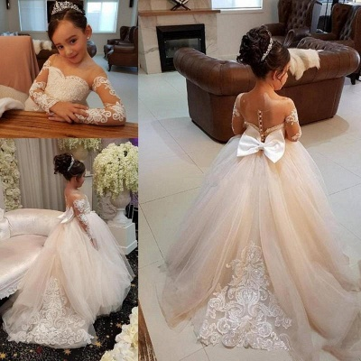 Princess Lace Tulle Flower Girl Dress With Sleeves On Sale_7
