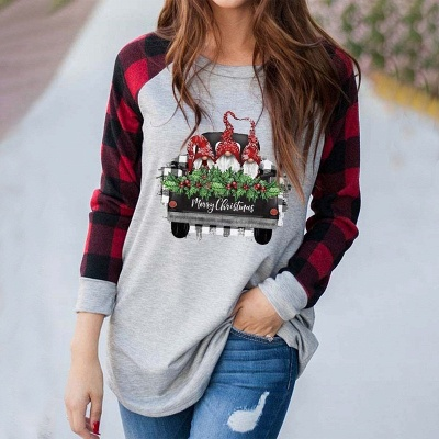 Women's MERRY CHRISTMAS truck gnome print color block sweatshirt