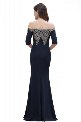 Mermaid Off-Shoulder Chiffon Lace Half Sleeve Evening Dress in Stock_18