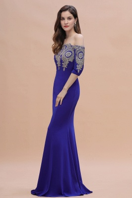 Mermaid Off-Shoulder Chiffon Lace Half Sleeve Evening Dress in Stock_12