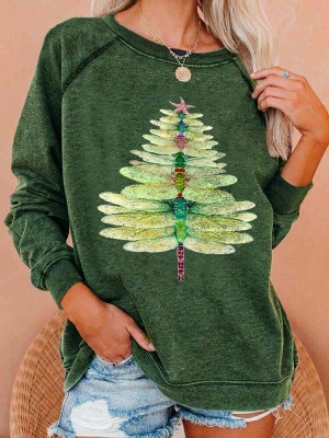 Women's Dragonfly Christmas Tree Print Sweatshirt