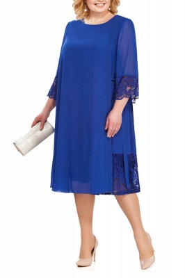 3/4 Sleeves Jewel Lace Knee Length Mother of Bride Dress_2