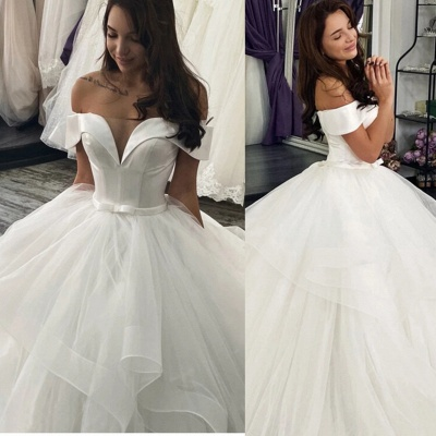 Women Off The Shoulder White Ruffles Wedding Dress A-Line