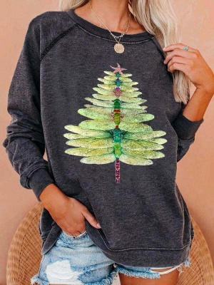 Women's Dragonfly Christmas Tree Print Sweatshirt_2