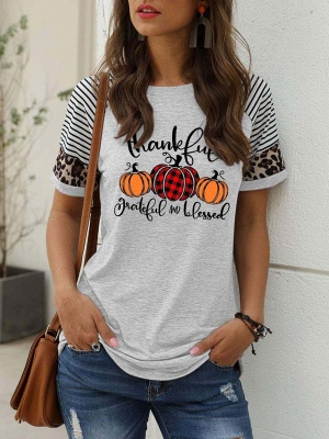 Women's Thankful Grateful And Blessed Printed Leopard Print Casual T-shirt_7