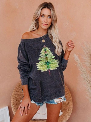Women's Dragonfly Christmas Tree Print Sweatshirt_4