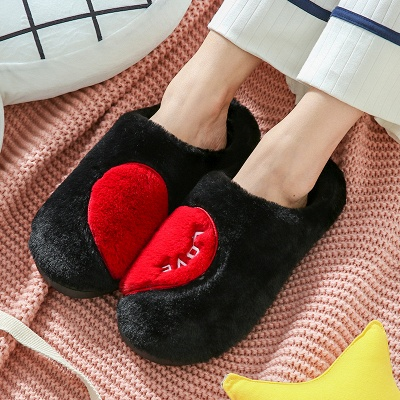 Heart Letter Pattern Fluffy Slippers On Sale_3