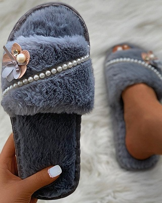 Floral Pattern Beaded Fluffy Slippers On Sale_10
