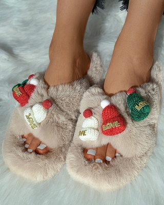Christmas Pattern Cross Fluffy Slippers On Sale_15