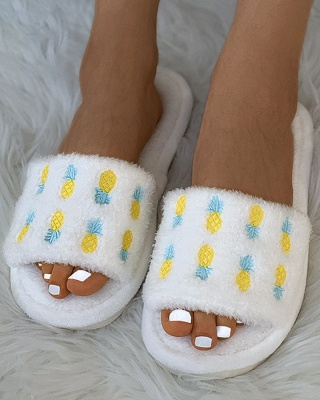 Pineapple Strawberry Pattern Fluffy Slippers On Sale_7