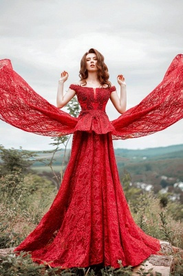 Glamorous Red Lace Off-Shoulder Beadings Prom Dress with Ruffles On Sale_1