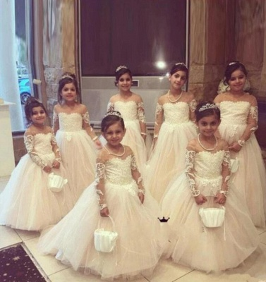 Princess Lace Tulle Flower Girl Dress With Sleeves On Sale_5