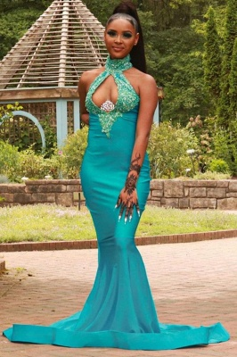 Sexy Halter Turquoise Mermaid Prom Dresses With Sequins_1