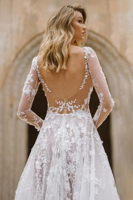 Gauzy Long Sleeves Tulle V Neck Wedding Dresses With Lace Appliques_6