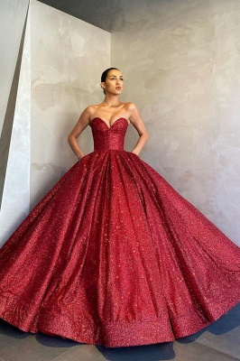 Gorgeous Strapless Red Sequins Prom Dress Long