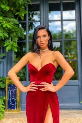 Sexy Strapless Split Burgundy Red Velvet Prom Dress Long